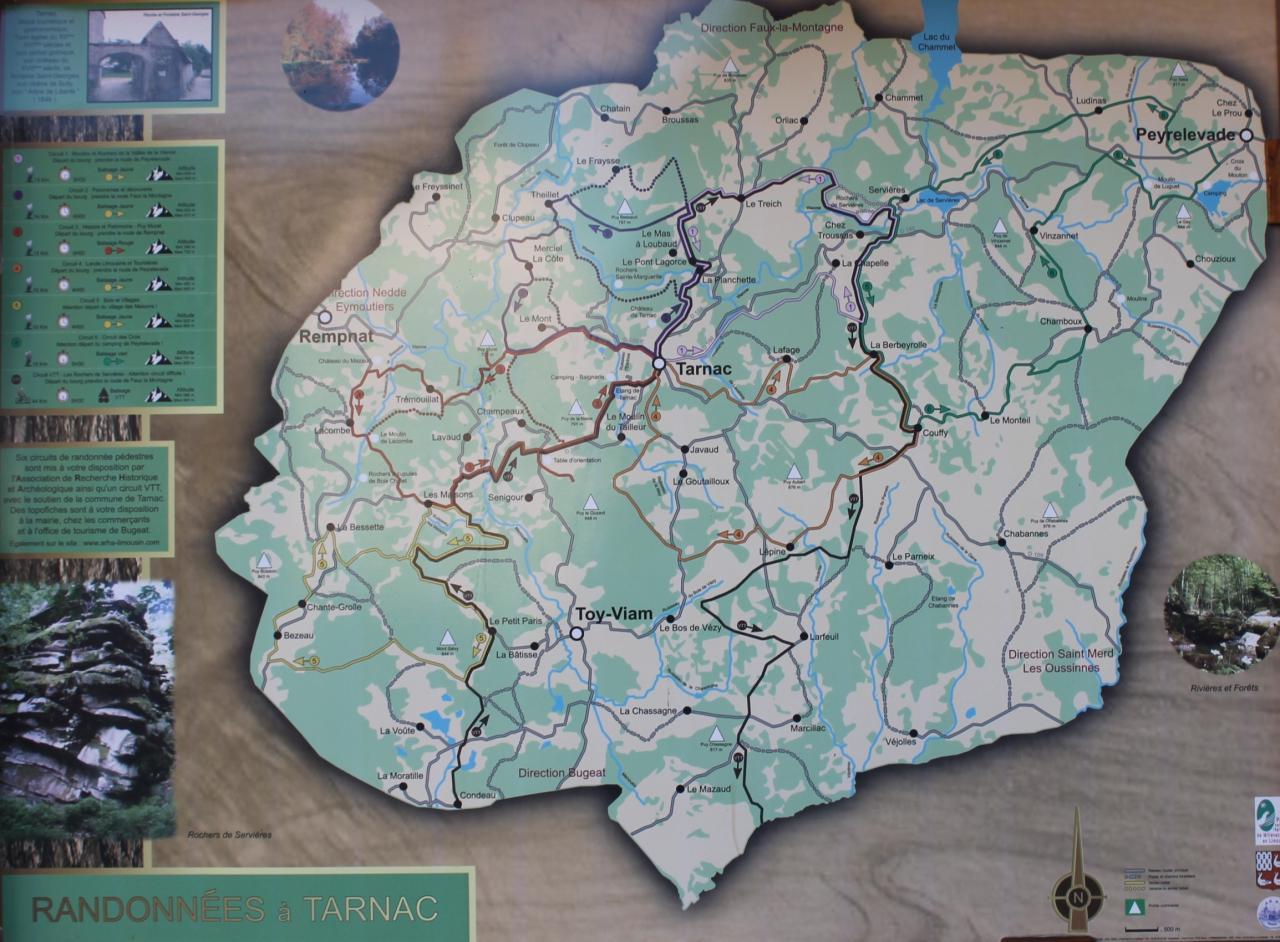 Plan des randonnées de Tarnac